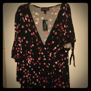 Red, black and white cold shoulder dress